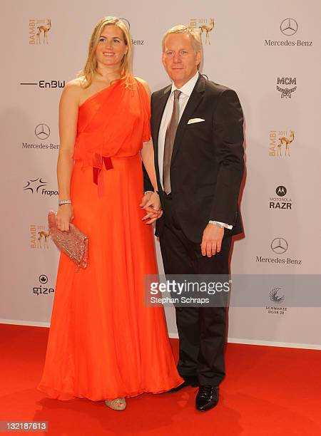 Johannes B Kerner and wife Britta attend the Red Carpet for the Bambi Award 2011 ceremony at the RheinMainHallen on November 10 2011 in Wiesbaden...