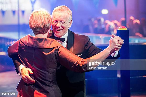 Johannes B Kerner dances with Martina de Maiziere during the German Sports Gala 'Ball des Sports 2016' on February 6 2016 in Wiesbaden Germany