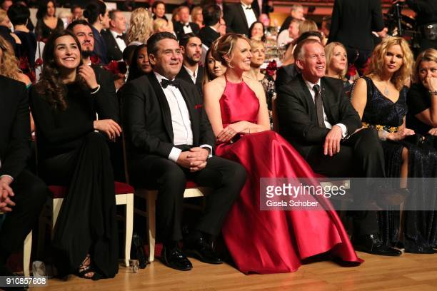 Johannes B. Kerner introduces his girlfriend Laura Schilling to Sigmar Gabriel and his wife Anke Stadler during the Semper Opera Ball 2018 at...