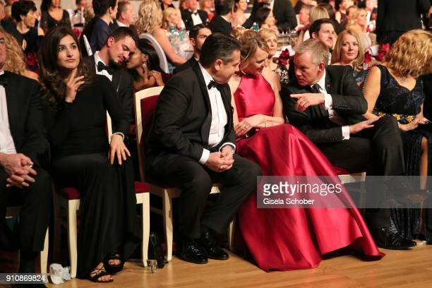 Johannes B Kerner introduces his girlfriend Laura Schilling to Sigmar Gabriel and his wife Anke Stadler during the Semper Opera Ball 2018 at...