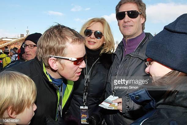 Johannes B Kerner Veronica Ferres and Carsten Maschmeyer attend the Hahnenkamm race on January 22 2011 in Kitzbuehel Austria