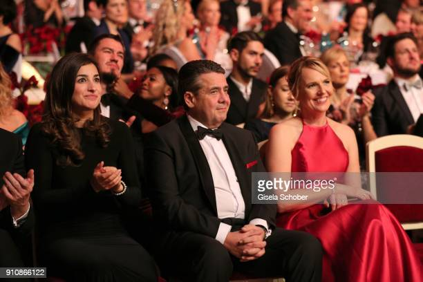 Johannes B Kerner's girlfriend Laura Schilling Sigmar Gabriel and his wife Anke Stadler during the Semper Opera Ball 2018 at Semperoper on January 26...