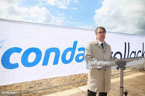 Johannes Bettsteller Director of Vollack speaks to the attendant crowd during the foundation stone laying ceremony for the new Condair EMEA Logistic...