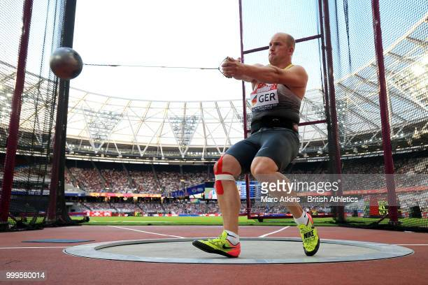 Johannes Bichler of Germany competes in the Men's Hammer Throw during day two of the Athletics World Cup London at the London Stadium on July 15,...