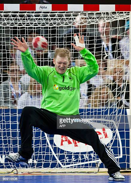 Johannes Bitter of Germany attempts to stop the ball during their EHF Handball Euro 2010 game against Slovenia at Arena Nova in Innsbruck on January...