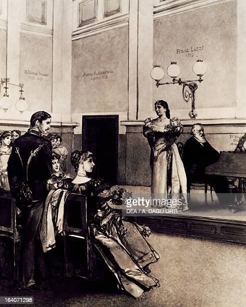 Johannes Brahms accompanying singer Alice Barbi on the piano Vienna Gesellschaft Der Musikfreunde