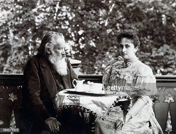 Johannes Brahms and his wife Adele Strauss eating breakfast in Bad Ischl Austria Vienna Historisches Museum Der Stadt Wien