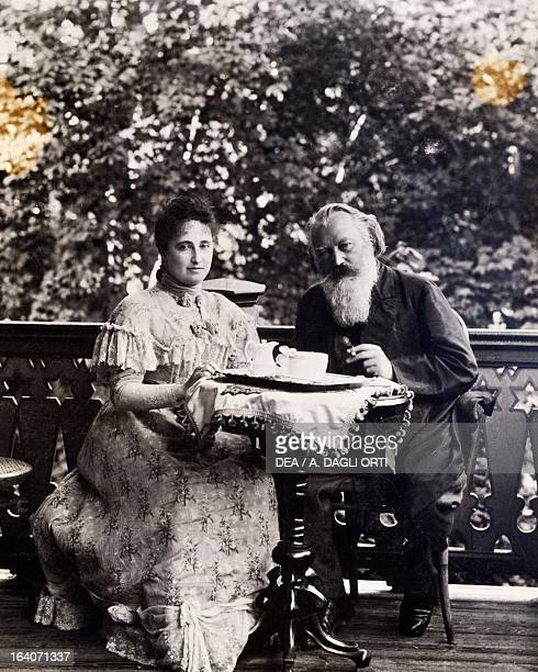 Johannes Brahms and his wife Adele Strauss eating breakfast in Bad Ischl Austria Vienna HaydnMuseum