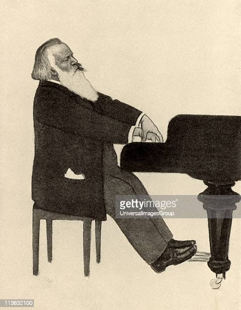 Johannes Brahms German composer at the piano Halftone