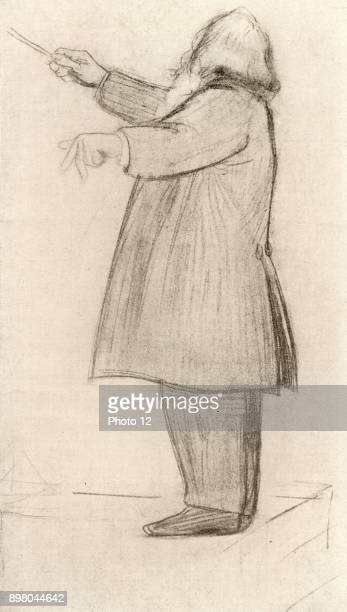 Johannes Brahms German composer conducting From drawing by Willy von Beckerath