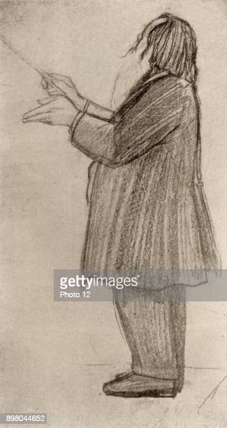 Johannes Brahms German composer conducting From drawing by Willy von Beckerath Halftone