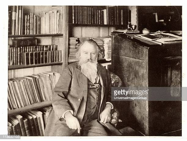 Johannes Brahms German composer in his library From a photograph Halftone
