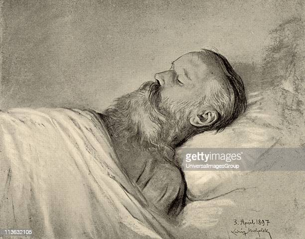 Johannes Brahms German composer on his deathbed After pastel by Ludwig Michalek Halftone