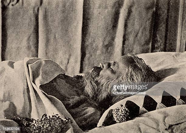 Johannes Brahms German composer on his deathbed From a photograph Halftone