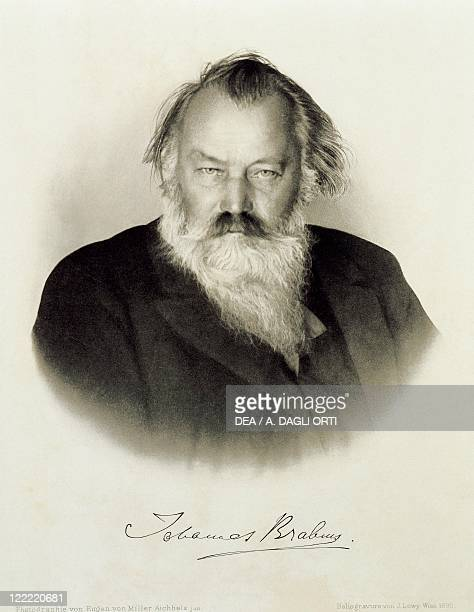 Johannes Brahms German composer pianist and conductor Engraving