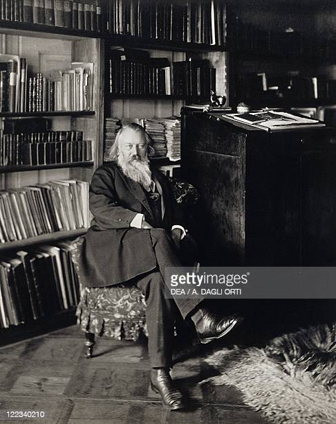 Johannes Brahms German composer pianist and conductor in his house in Vienna