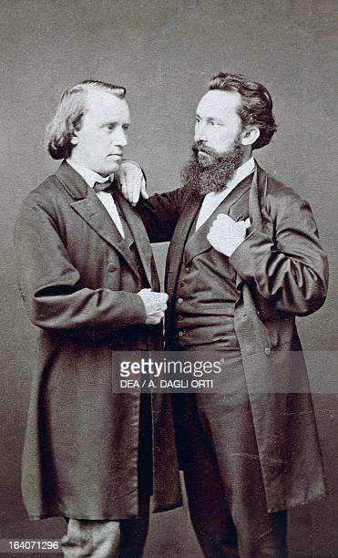 Johannes Brahms German composer pianist and conductor with Julius Christian Stockhausen German baritone singer and conductor 1869 Vienna Gesellschaft...