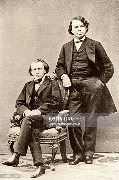 Johannes Brahms German composer seated with Joseph Joachim Hungarian violinist and composer and director of the Berlin Conservatory Halftone from a...