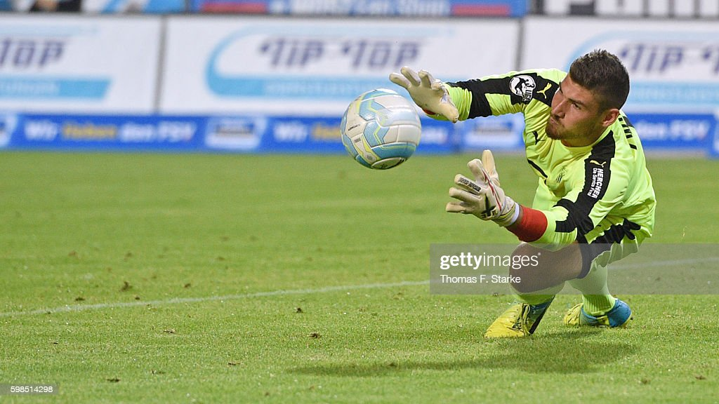 Johannes Brinkies of Zwickau catches the ball during the Third League match between FSV Zwickau and 1. FC Magdeburg at Stadion Zwickau on September 1, 2016 in Zwickau, Germany.