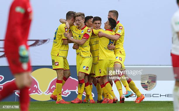 Johannes Buehler of Hoffenheim jubilates with team mates after scoring the fived goal during the U19 A Juniors Bundesliga semi final match between RB...