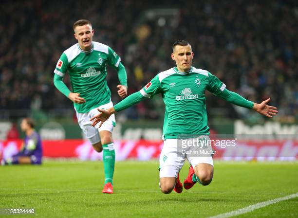 Johannes Eggestein and Maximilian Eggestein of Werder Bremen celebrate after scoring during the Bundesliga match between SV Werder Bremen and...