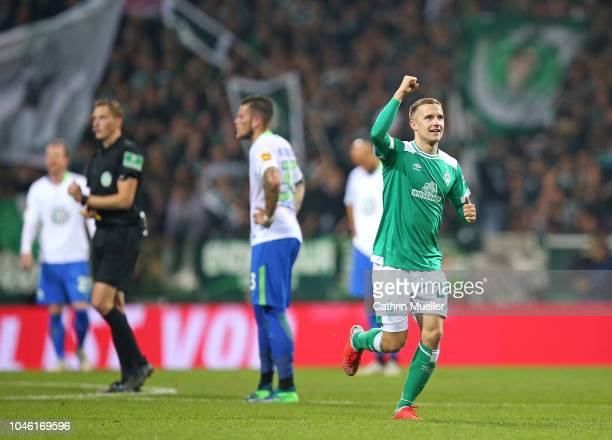 Johannes Eggestein of Bremen celebrates after scoring during the Bundesliga match between SV Werder Bremen and VfL Wolfsburg at Weserstadion on...