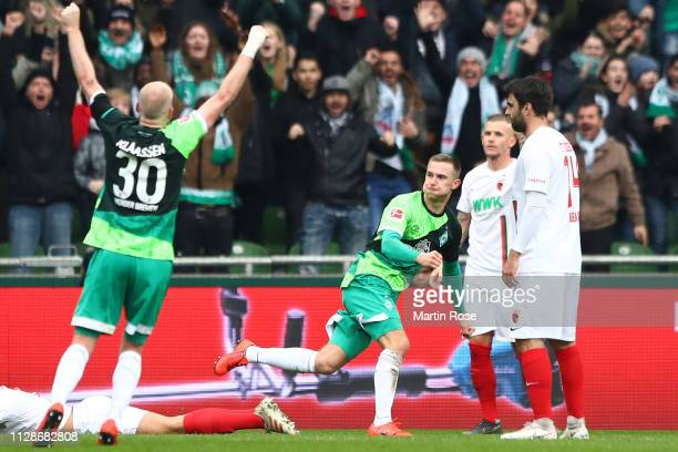 Johannes Eggestein of Bremen celebrates scoring the 2nd team goal during the Bundesliga match between SV Werder Bremen and FC Augsburg at...