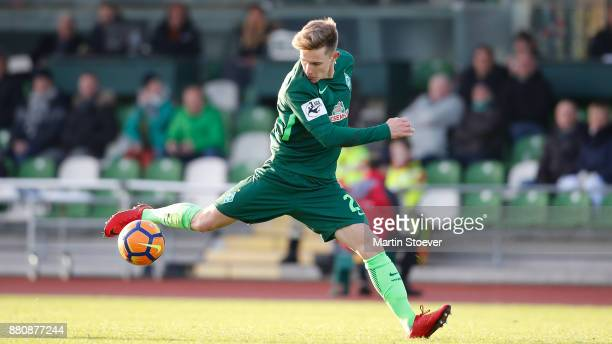 Johannes Eggestein of Bremen II play the ball during the 3 Liga match between SV Werder Bremen II and FC RotWeiss Erfurt at Bremen Platz 11 on...