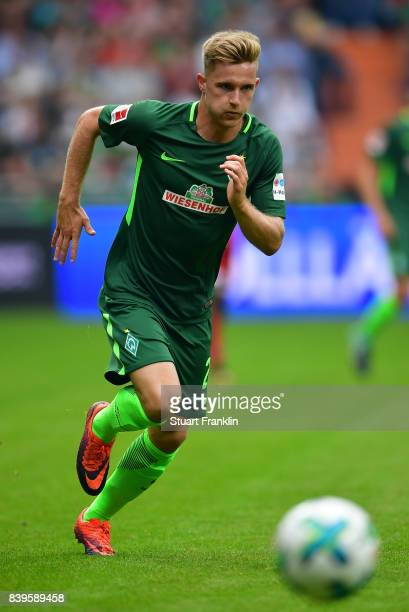Johannes Eggestein of Bremen in action during the Bundesliga match between SV Werder Bremen and FC Bayern Muenchen at Weserstadion on August 26 2017...