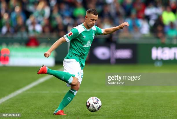 Johannes Eggestein of Bremen runs with the ball during the Bundesliga match between SV Werder Bremen and Hannover 96 at Weserstadion on August 25,...