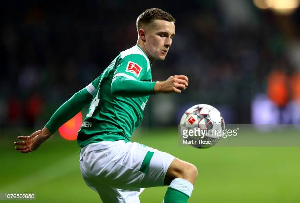 Johannes Eggestein of Bremen runs with the ball during the Bundesliga match between SV Werder Bremen and FC Bayern Muenchen at Weserstadion on...