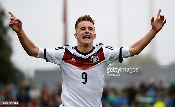 Johannes Eggestein of Germany celebrates after scoring his team's third goal during the KOMM MIT tournament match between U17 Germany and U17 Italy...