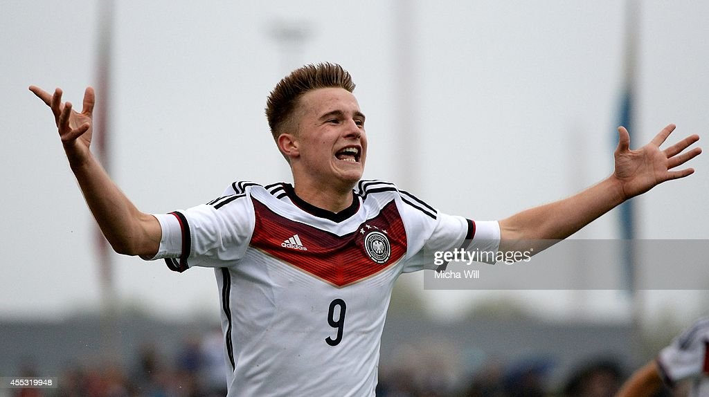Johannes Eggestein of Germany celebrates after scoring his team's third goal during the KOMM MIT tournament match between U17 Germany and U17 Italy on September 12, 2014 in Kelheim, Germany.
