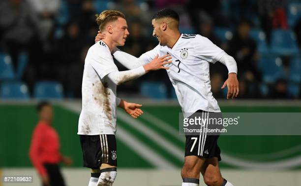 Johannes Eggestein of Germany celebrates with Aymen Barkok after his team's second goal during the Under 20 International Friendly match between U20...