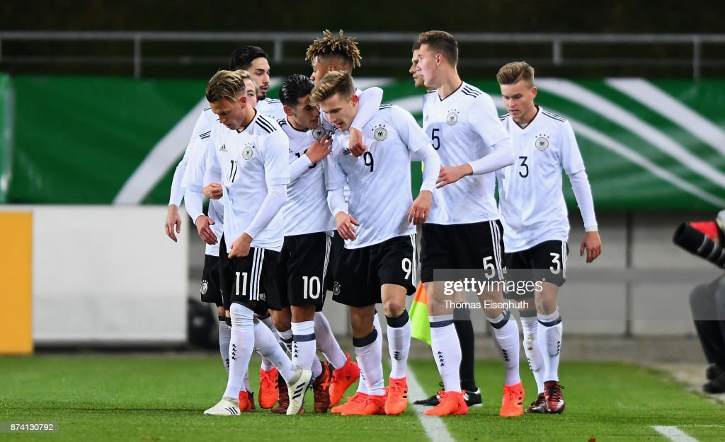 Johannes Eggestein (C) of Germany celebrates with teammates after the opening goal during the Under 20 International Friendly match between U20 of Germany and U20 of England at Stadion Zwickau on November 14, 2017 in Zwickau, Germany.