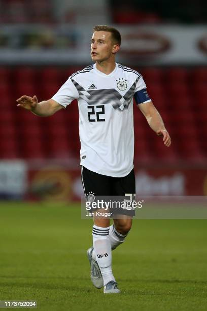 Johannes Eggestein of Germany during the international friendly match between U21 Wales and U21 Germany at Racecourse Ground on September 10, 2019 in...