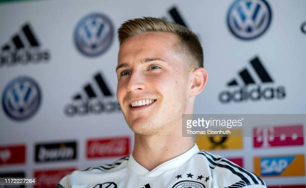 Johannes Eggestein of Germany looks on during the Germany Under 21 press conference at Stadion Zwickau on September 04, 2019 in Zwickau, Germany.