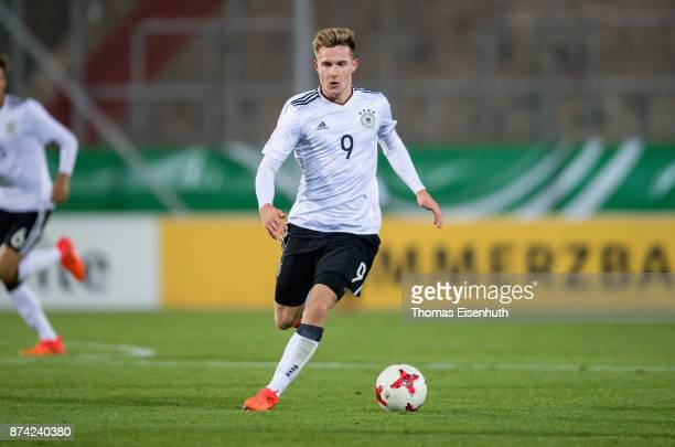 Johannes Eggestein of Germany plays the ball during the Under 20 International Friendly match between U20 of Germany and U20 of England at Stadion...