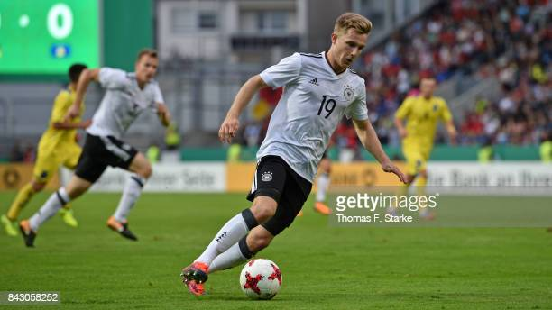 Johannes Eggestein of Germany runs with the ball during the UEFA Euro 2019 Qualifier match between Germany U21 and Kosovo U21 at Osnatel Arena on...
