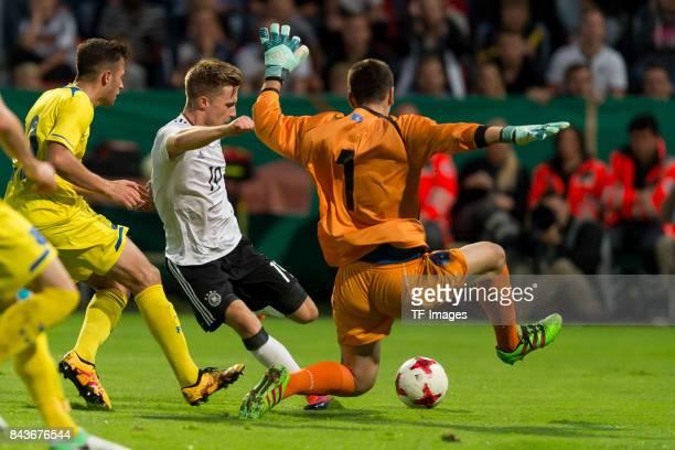 Johannes Eggestein of Germany und Goalkeeper Visar Bekaj of Kosovo battle for the ball during the U21 UEFA 2018 EM Qualifying match between Germany...
