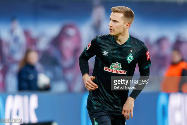 Johannes Eggestein of SV Werder Bremen looks on during the Bundesliga match between RB Leipzig and SV Werder Bremen at Red Bull Arena on February 15,...