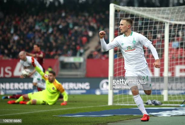 Johannes Eggestein of Werder Bremen celebrates after scoring his team's first goal during the Bundesliga match between 1 FC Nuernberg and SV Werder...