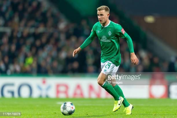Johannes Eggestein of Werder Bremen controls the ball during the DFB Cup second round match between Werder Bremen and 1. FC Heidenheim 1846 at...