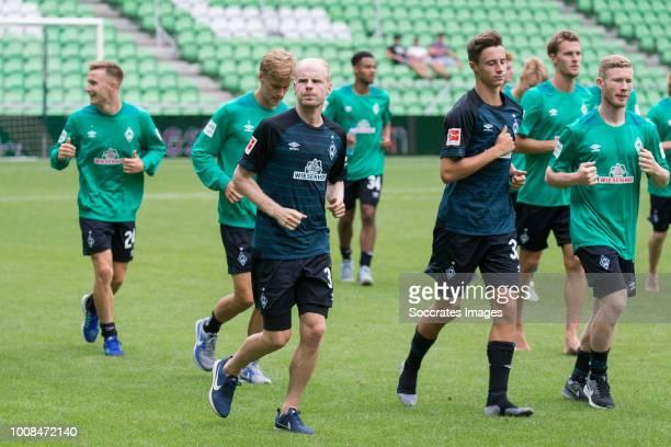 Johannes Eggestein of Werder Bremen Davy Klaassen of Werder Bremen Marco Friedl of Werder Bremen during the Club Friendly match between FC Groningen...