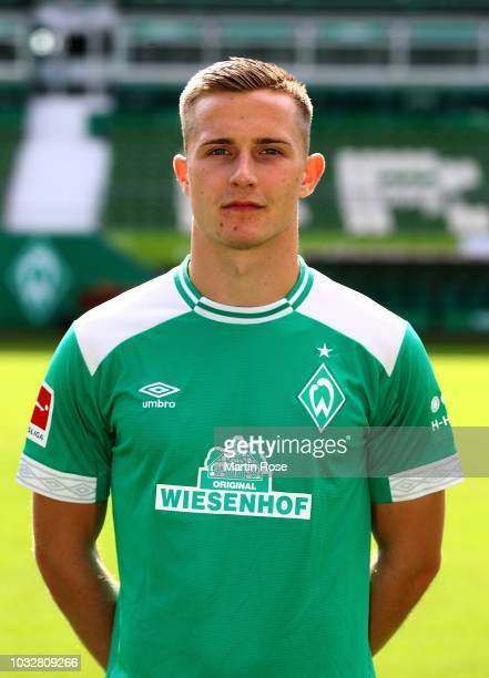 Johannes Eggestein of Werder Bremen poses during the team presentation at Weser Stadion on September 13 2018 in Bremen Germany