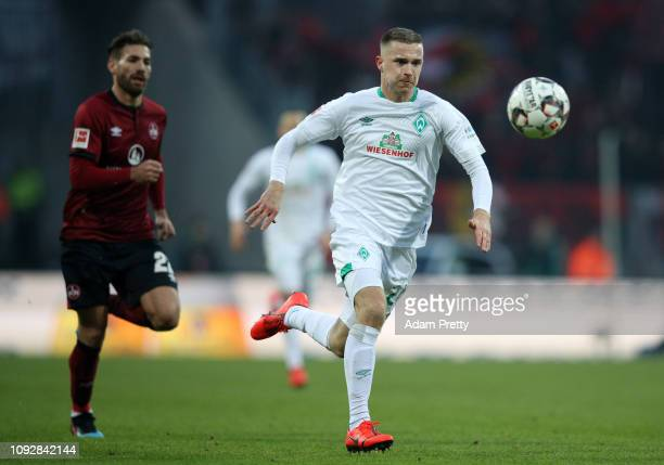 Johannes Eggestein of Werder Bremen runs with the ball during the Bundesliga match between 1 FC Nuernberg and SV Werder Bremen at MaxMorlockStadion...