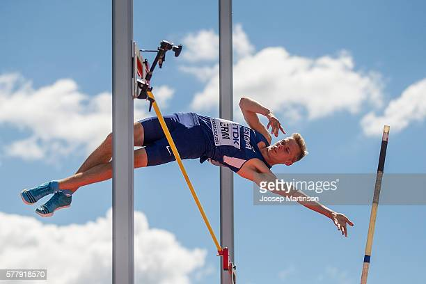 Johannes Erm from Estonia competes in men's pole vault decathlon during the IAAF World U20 Championships at the Zawisza Stadium on July 20, 2016 in...