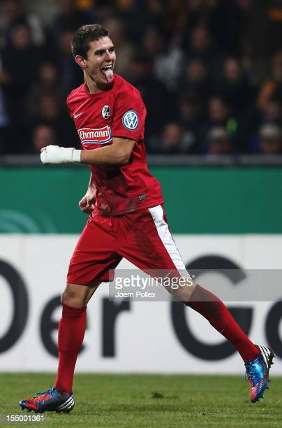 Johannes Flum of Freiburg celebrates after scoring his team's second goalduring the second round DFB Cup match between Eintracht Braunschweig and SC...