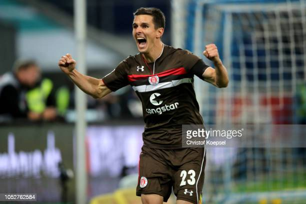Johannes Flum of St Pauli celebrates the first goal during the Second Bundesliga match between MSV Duisburg and FC St Pauli at...
