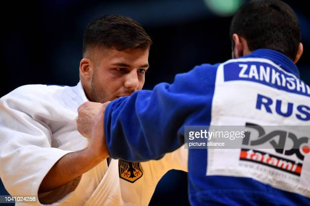 Johannes Frey and Kazbek Zankishiev in action in the men's up to 100 kg body weight competition at the Judo Grand Prix in the Mitsubishi Electric...